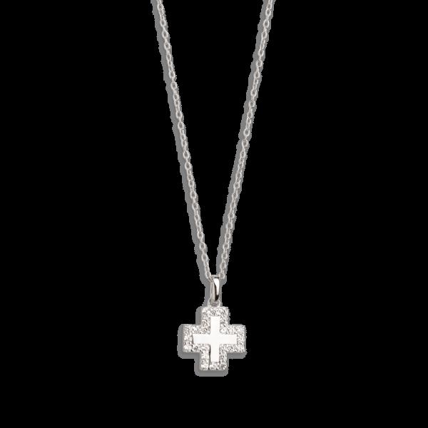 "XENOX Halskette silber ""Kreuz - Modern Classic Kollektion"" mit Zirkonia XS8618"