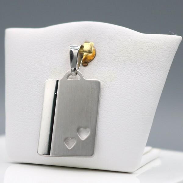 Anhänger im Herzdesign rechteckig glänzend-matt JS10963 - 925 Silber