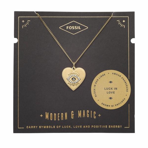 """Fossil goldene Kette mit Glassteinen """"Herz und magisches Auge - Vintage Motifs Kollektion"""" JF0324371"""