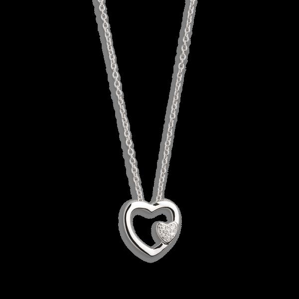 XENOX Collier silber mit Herzsymbol und Zirkonia XS2797